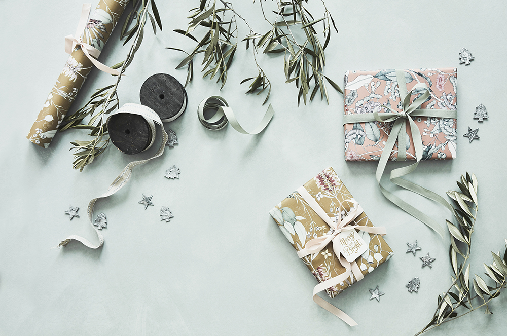 flat lay opener wrapping paper